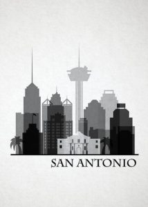 merged images in greyscale of buildings that make up the san antonio skyline